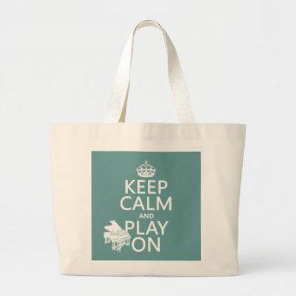 Guarde la calma y el juego en (piano) (cualquier c bolsa tela grande