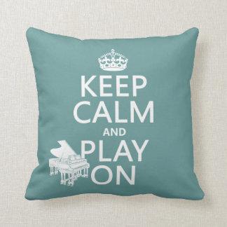 Guarde la calma y el juego en (piano) (cualquier c cojín