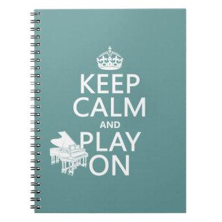 Guarde la calma y el juego en (piano) (cualquier c libretas espirales