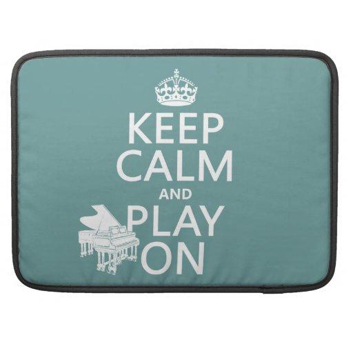 Guarde la calma y el juego en (piano) (cualquier c fundas macbook pro