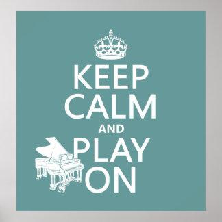Guarde la calma y el juego en (piano) (cualquier c póster