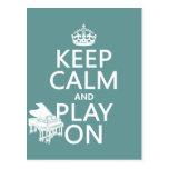 Guarde la calma y el juego en (piano) (cualquier c tarjetas postales
