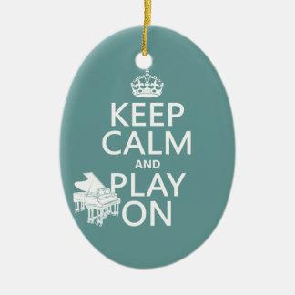 Guarde la calma y el juego en (piano) (cualquier adorno ovalado de cerámica