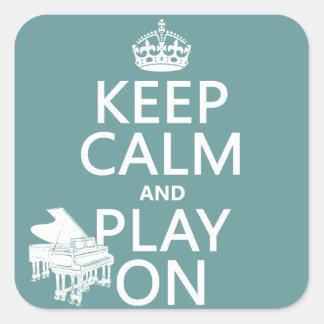 Guarde la calma y el juego en (piano) (cualquier pegatina cuadrada