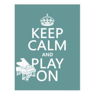 Guarde la calma y el juego en (piano) (cualquier tarjeta postal