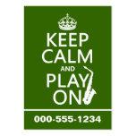 Guarde la calma y el juego en (saxofón) (cualquier tarjeta de visita