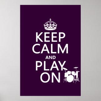 Guarde la calma y el juego en (tambores) (cualquie posters