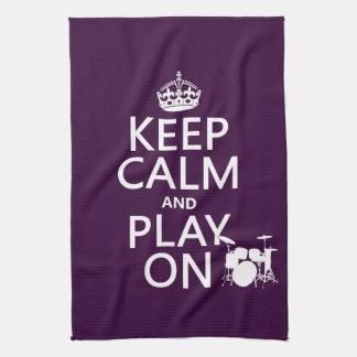 Guarde la calma y el juego en (tambores) (cualquie toallas de mano