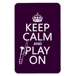 Guarde la calma y el juego en (Trombone) (cualquie Iman De Vinilo