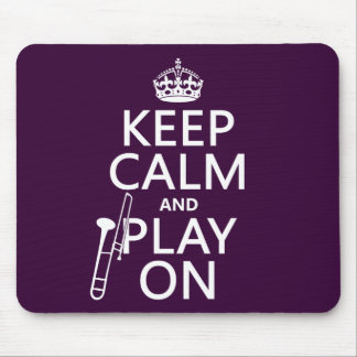 Guarde la calma y el juego en (Trombone) (cualquie Tapetes De Ratón