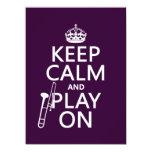"""Guarde la calma y el juego en (Trombone) Invitación 5.5"""" X 7.5"""""""