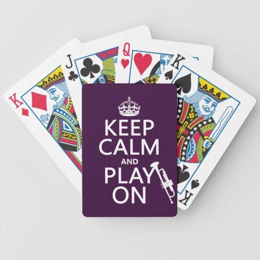 Guarde la calma y el juego en (trompeta) (todos lo baraja de cartas