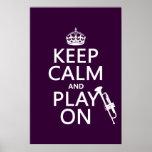 Guarde la calma y el juego en (trompeta) (todos lo posters