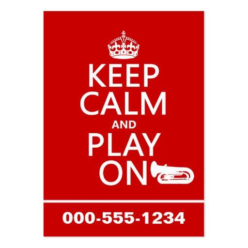 Guarde la calma y el juego en (tuba) (cualquier co plantilla de tarjeta de negocio