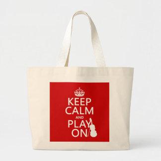 Guarde la calma y el juego en (violín) (cualquier  bolsas