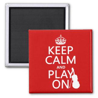 Guarde la calma y el juego en (violín) (cualquier  iman de frigorífico