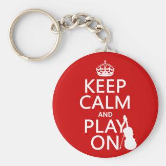 Guarde la calma y el juego en (violín) (cualquier  llaveros personalizados