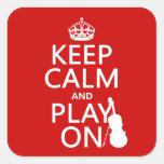 Guarde la calma y el juego en (violín) (cualquier  colcomanias cuadradas