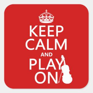 Guarde la calma y el juego en (violín) (cualquier pegatina cuadrada