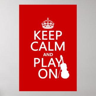 Guarde la calma y el juego en (violín) (cualquier póster