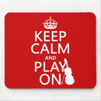 Guarde la calma y el juego en (violín) (cualquier  alfombrillas de raton