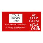 Guarde la calma y el juego en (violín) (cualquier  tarjetas con fotos personalizadas