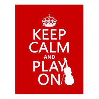 Guarde la calma y el juego en (violín) (cualquier  postal