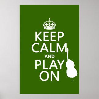 Guarde la calma y el juego en (violoncelo) (cualqu posters