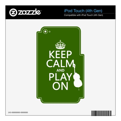 Guarde la calma y el juego en (violoncelo) (cualqu iPod touch 4G calcomanía