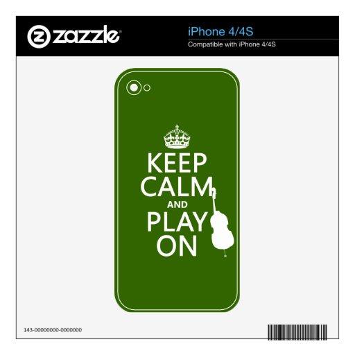 Guarde la calma y el juego en (violoncelo) (cualqu skins para iPhone 4S
