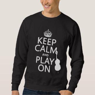 Guarde la calma y el juego en (violoncelo) pullover sudadera