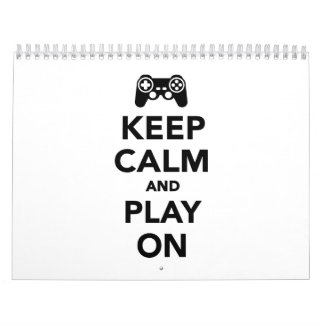 Guarde la calma y el juego encendido calendario de pared
