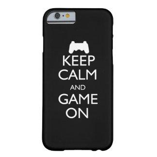 Guarde la calma y el juego encendido funda de iPhone 6 barely there