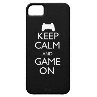 Guarde la calma y el juego encendido iPhone 5 funda
