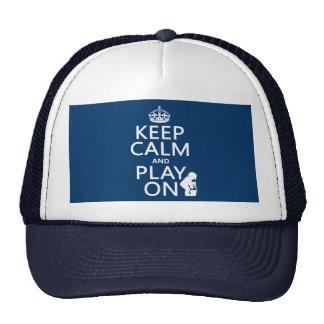 Guarde la calma y el juego encendido gorros bordados