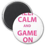 Guarde la calma y el juego encendido imán para frigorífico