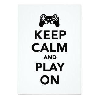 """Guarde la calma y el juego encendido invitación 3.5"""" x 5"""""""