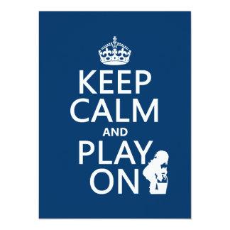 """Guarde la calma y el juego encendido invitación 5.5"""" x 7.5"""""""