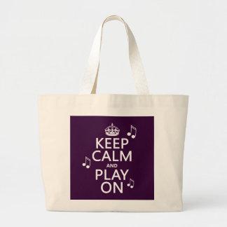 Guarde la calma y el juego encendido - las notas d bolsa tela grande