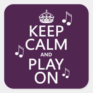 Guarde la calma y el juego encendido - las notas calcomanías cuadradas