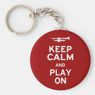 Guarde la calma y el juego encendido llavero redondo tipo pin