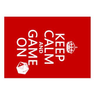 Guarde la calma y el juego encendido - los dados - tarjetas personales