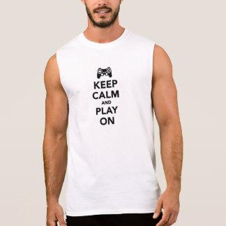 Guarde la calma y el juego encendido camisetas sin mangas