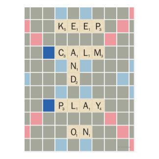 Guarde la calma y el juego encendido postales