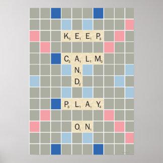 Guarde la calma y el juego encendido póster