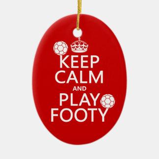 Guarde la calma y el juego Footy (fútbol) (cualqui Adornos De Navidad