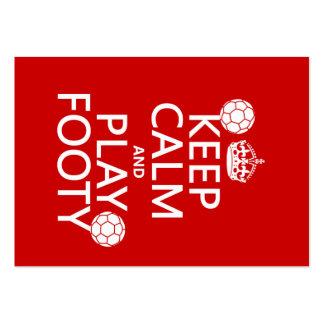 Guarde la calma y el juego Footy (fútbol) (cualqui Tarjeta Personal