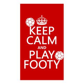 Guarde la calma y el juego Footy (fútbol) (cualqui Plantilla De Tarjeta Personal