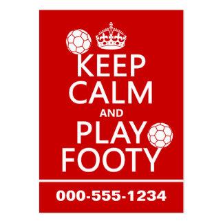 Guarde la calma y el juego Footy (fútbol) (cualqui Plantillas De Tarjetas De Visita