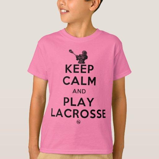 Guarde la calma y el juego LaCrosse Playera